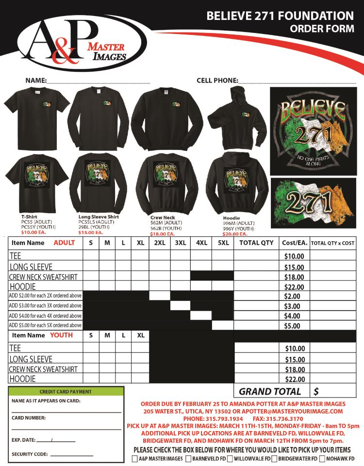 2019 Believe 271 St. Patrick's Day Order Form